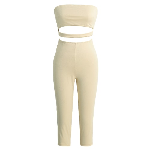 Sexy Strapless Backless Cut Out Cropped Leg Skinny Fit  Women's Jumpsuit