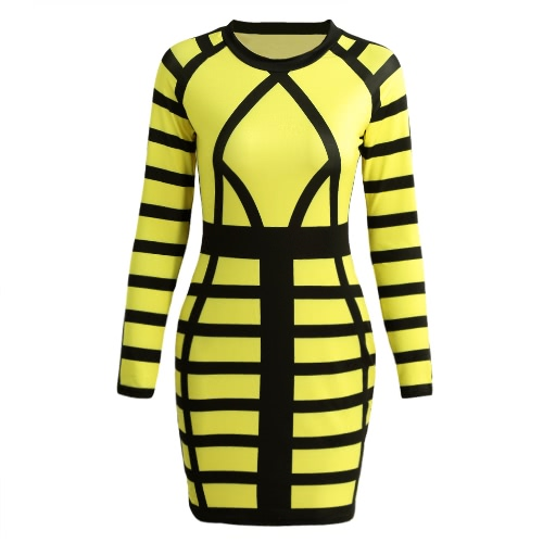 Buy Sexy Women Mini Bodycon Dress Color Block Stripe O Neck Long Sleeves Clubwear Party Evening Rose/Yellow