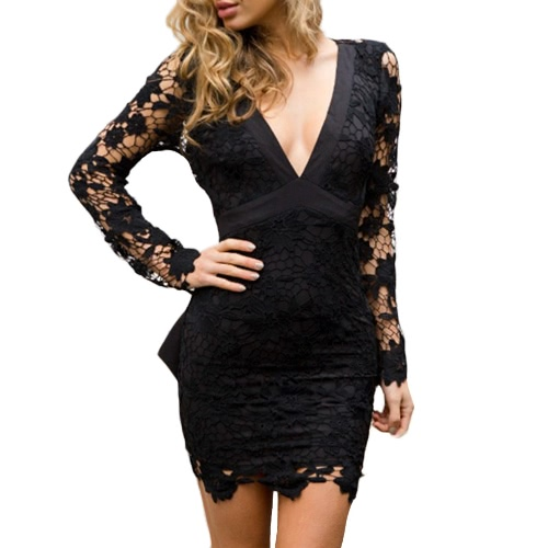 Sexy Women Mini Bodycon Dress Lace Hollow Out Bow V-Neck Long Sleeves Elegant Dress Pink/Black