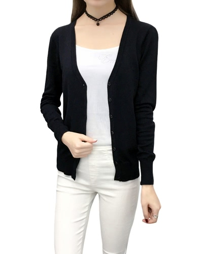 Women Solid Knitted Cardigan Sweater Coat V-Neck Long Sleeve Female Casual Knitwear Top