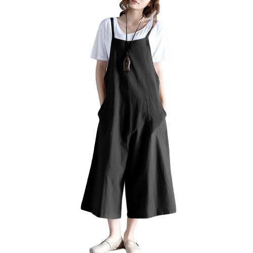 Buy Women Loose Suspender Trousers Solid Color Casual Overalls Jumpsuit Female Long Pants Pockets Playsuit Rompers Black/Blue