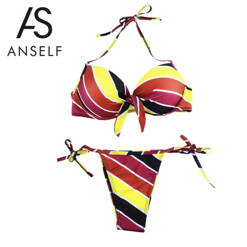 New Fashion Women Halter Bikini Set Contrast Stripe Underwire Padded Cup Tie Side Bottom Swimsuit Yellow
