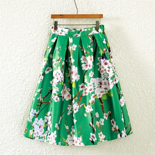 Buy Fashion Women Skirt Butterfly Floral Print Line Zipper Elegant Green/Black/White