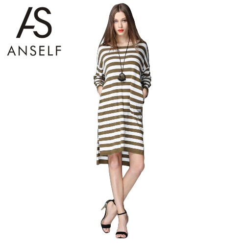 Buy Fashion Women Loose Knitted Dress Striped Split High-Low Hem Long Sleeve Casual Army Green