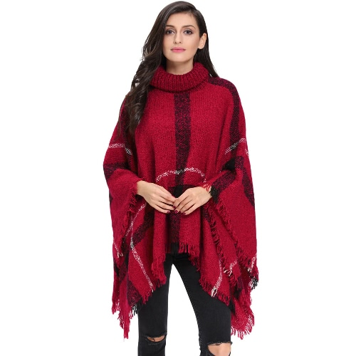 Buy Winter Women Knitted Poncho Cape Coat Stripe Tassel Turtleneck Warm Shawl Pullover Cloak Sweater