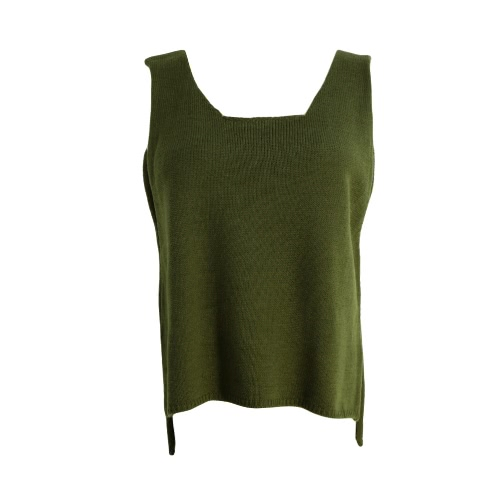 New Women Knitted Sweater Solid Color Round Neck Sleeveless Irregular Hem Mini Pullover Knitwear Grey/Army Green/Dark Blue