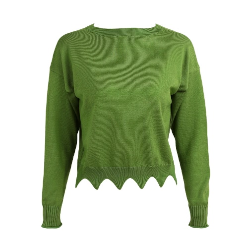 Buy Fashion Women Scalloped Crop Sweater O-Neck Long Sleeve Solid Loose Knitwear Knitted Pullover Tops Red/Green