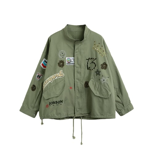 New Fashion Women Outerwear Rivet Patches Embroidery Long Sleeve Drawstring Loose Jacket Coat Outwear Army Green