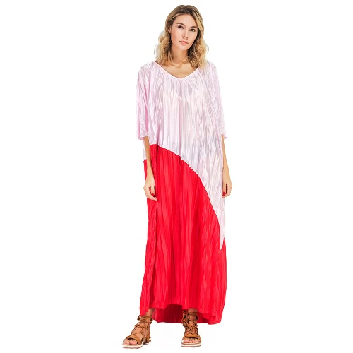 Buy Women Plus Size Dress Semi Sheer Color Block Splicing V Neck Batwing Sleeve Maxi Casual Beach One-Piece Red