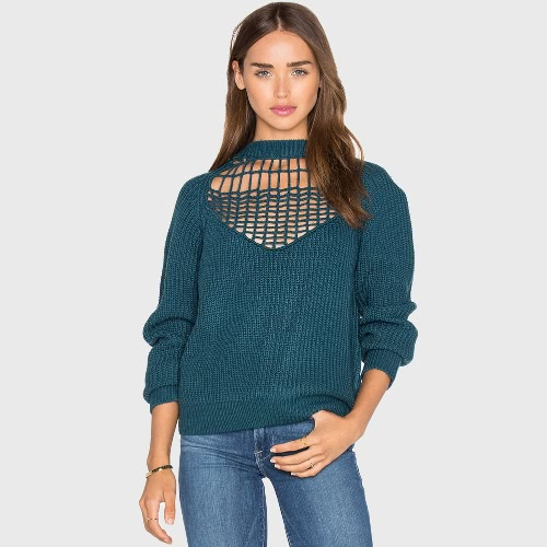 Buy Winter Autumn Women Loose Knitted Sweater Hollow High Neck Long Sleeve Pullover Tops Knitwear Green