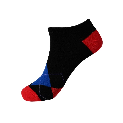 New Fashion Men Socks Geometric Pattern Contrast Color Low Cut Ankle Breathable Stretchy Casual Sport Socks