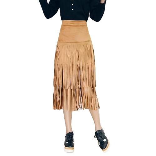 Buy Fashion Women Fringed Tassel Skirt High Waist Side Zipper Wiggle Midi Bodycon Brown/Black/Khaki