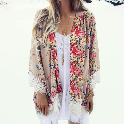 Buy Vintage Women Loose Chiffon Kimono Cardigan Floral Print Lace Hem Long Sleeve Beach Casual Boho Outerwear Top Khaki