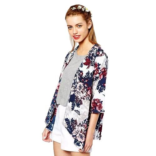 Buy Women Outerwear Open Front Floral Print Batwing 3/4 Sleeve Irregular Hem Thin Vintage Loose Cardigan Coat Blue