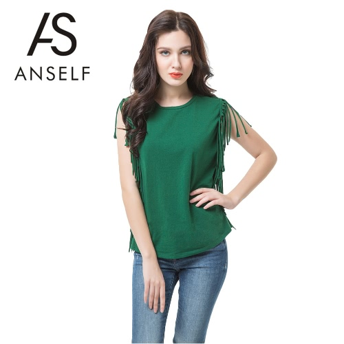 New Fashion Women T-shirt Tassel Fringing Round Neck Sleeveless Solid Regular Fit Casual Tops Green