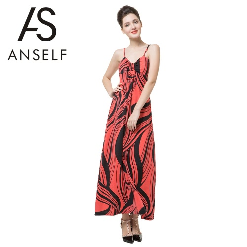 New Fashion Women Maxi Dress Contrast Stripe Print Color Block Spaghetti Strap Casual Beach Dress Orange