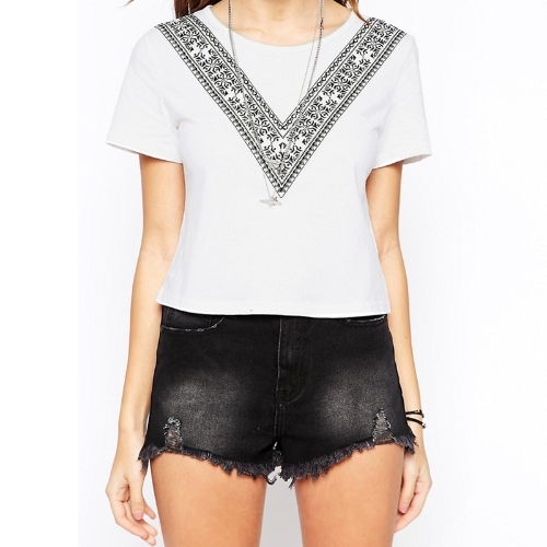 Summer Women Boxy T-Shirt Contrast V Print Short Sleeve O Neck Cropped Top Casual Tee White