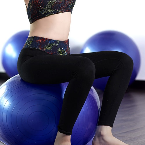 Buy Fashion Women Yoga Sports Pants Print High Stretch Fitness Gym Running Trousers Exercise Leggings Black/Purple