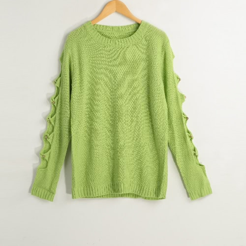 Women Winter Sweater Pullover Knitted Sweater Long Sleeves Hollow Jumper Top