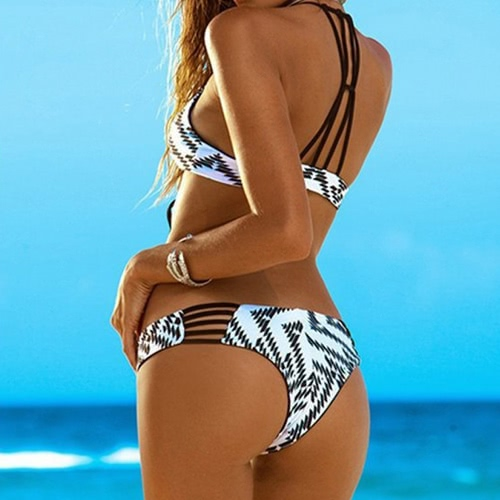 New Sexy Women Bikini Set Print Bandage Wireless Padded Two Piece Bathing Suit Swimwear Swimsuits Rose/Black/Blue