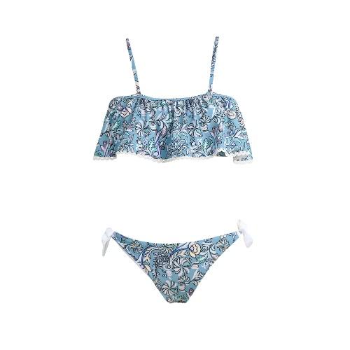 Buy Women Bikini Set Swimwear Swimsuit Floral Print Ruffles Slash Neck Padded Two-Piece Bathing Suit Beachwear Blue