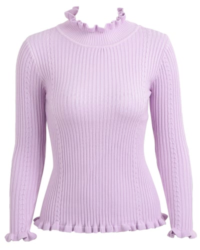 Buy Women Ribbed Knitted Pullover Sweaters Turtle Neck Ruffles Solid Slim Stretchy Jumpers Knitting Top