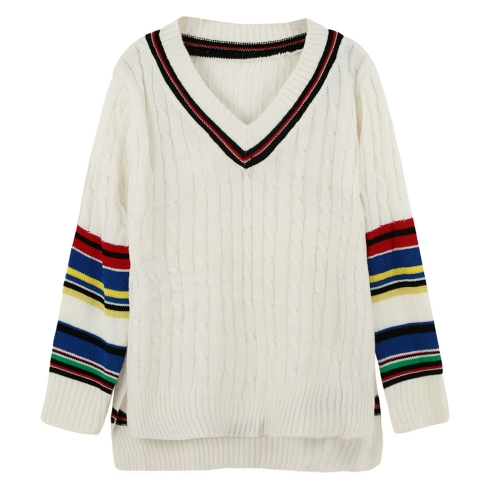 Chic Knitted Sweater with Contrast Stripe Slits V Neck High-low Hem