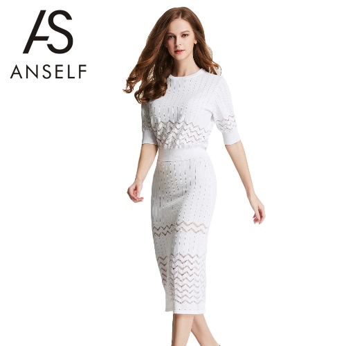 Buy Fashion Women Two-Piece Set Dress Knitwear Hollow O-Neck Half Sleeve Bodycon Skirt Party Suit Outfits Beige