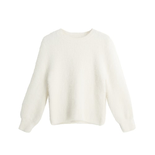 New Fashion Women Knitted Sweater Solid Color O-Neck Long Sleeve Casual Thick Warm Jumper Pullover Knitwear