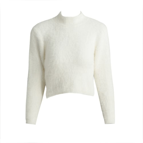 Buy Fashion Women Knitted Fluffy Sweater Jumper Crop Top Turtle Neck Long Sleeve Mohair Slim Pullover Knitwear