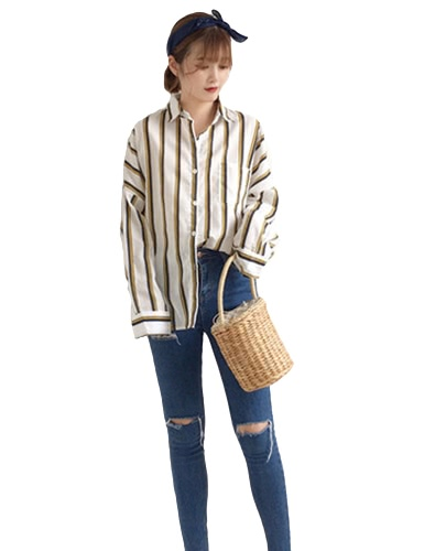 Buy Fashion Women Loose Shirts Contrast Striped Turn-Down Collar Long Sleeve Button Casual Blouse Tops White