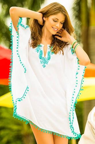 Buy Boho Embroidery Lace Pompom Half Sleeve Bikini Cover Beach Dress Women
