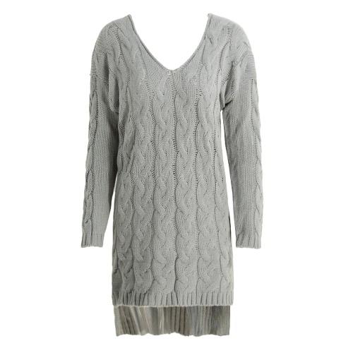 Buy Women Midi Twist Knitted Sweater Solid V Neck Long Sleeve Split High-Low Hem Loose Warm Jumper Pullover Knitwear Pink/Grey