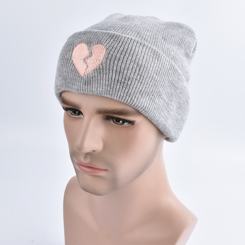 Buy Unisex Men Women Beanies Knitted Hat Heart Embroidery Skullies Baggy Warm Winter Bonnet Caps Grey