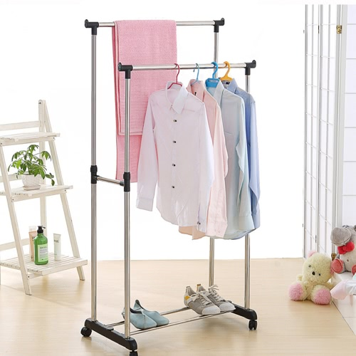 Buy iKayaa Metal Adjustable Double Rail Clothes Garment Dress Hanging Rack Display Satnd Organizer Wheels Shoes Heavy-duty