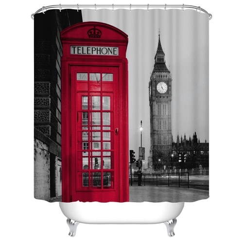 Buy Anself Mouldproof Shower Curtain 3D London Big Ben Red Telephone Booth Design 180*180cm Bathroom Waterproof Polyester Fabric Bath Curtains Thickened 12 C Ring Hooks