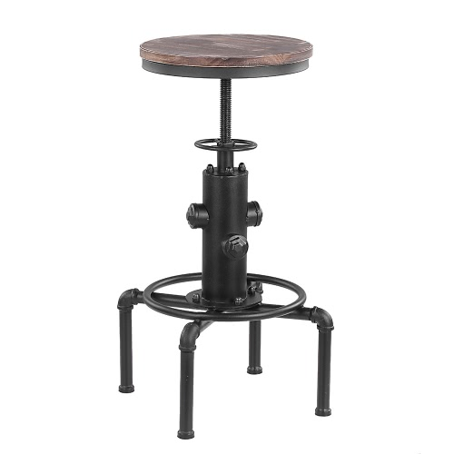 iKayaa Metal Industrial Bar Stool Height Adjustable Swivel Pinewood Top Kitchen Dining Chair Pipe Style Barstool W/ Footrest  sc 1 st  Tomtop.com & iKayaa Metal Industrial Bar Stool Height Adjustable Swivel Sales ... islam-shia.org