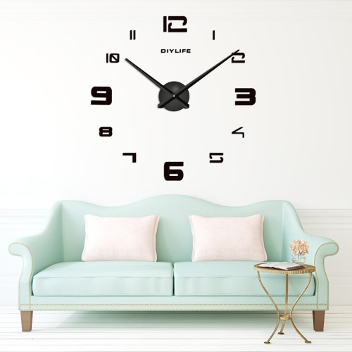 Buy Modern 3D DIY Wall Clock Quartz Clocks Large Horloge Watch Acrylic Glass Mirror Effect Home Living Room Decor Decoration