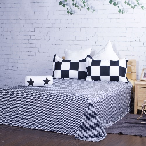Buy 7 pcs(Piece) Home Textile Bedding Set Bedclothes Black & White Tartan Plaid Queen/King Size Duvet Cover+Bed Sheet+2 Pillowcases+Neck Roll+2 Throw Pillows