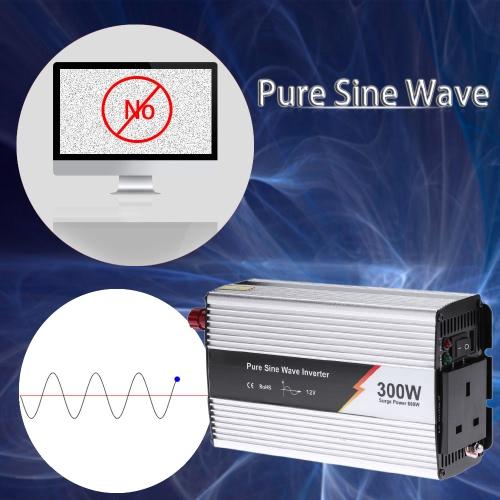 300W(600W Peak) Pure Sine Wave Power Inverter Household Car Power Converter Charger Adapter DC 12V AC 220V UK Plug