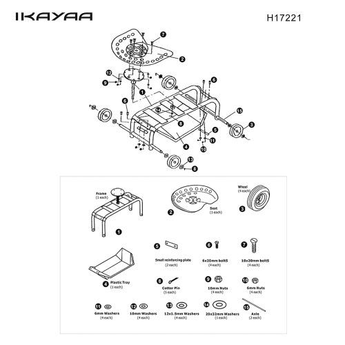 iKayaa resistente acciaio rotolamento Garden Carrello Work sede w / strumento vassoio 100KG Capacità esterna giardino Scooter W /