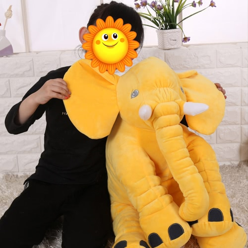 Large Soft Plush Long Nose Elephant Stuff Toy Doll Gifts Baby Children Kids Sleep Lumbar Pillow Cushion Bed Room Decoration Decor