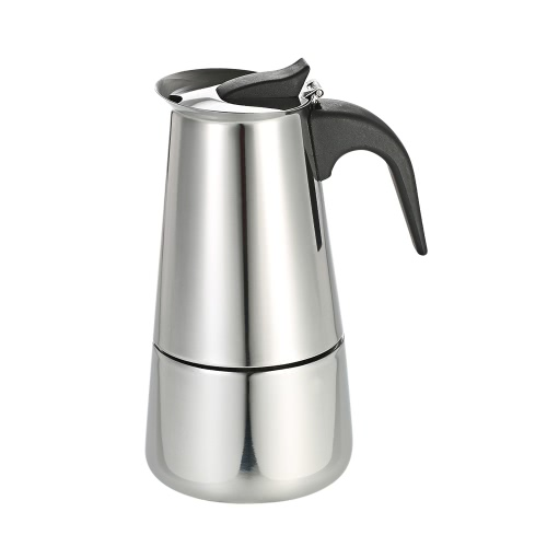 100ml 2-Cup Stainless Steel Espresso Percolator Coffee Stovetop Maker Mocha Pot for Use on Gas or Electric Stove