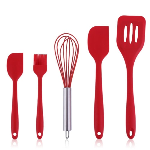 5pcs Home Heat-Resistant Cooking Utensil Set Non-Stick Food Grade Silicone Baking Spatula Tools Scraper Basting Brush Egg Beater Turner Kitchen Accessories