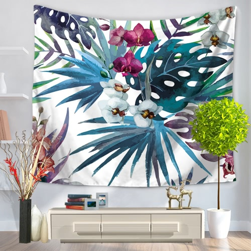 Buy 130*150cm Polyester Home Wall Hanging Decor Art Fresh Flowers Floral Plants Tapestry Beach Towel Blanket Picnic Carpet Garden Style Bedspread Tablecloth