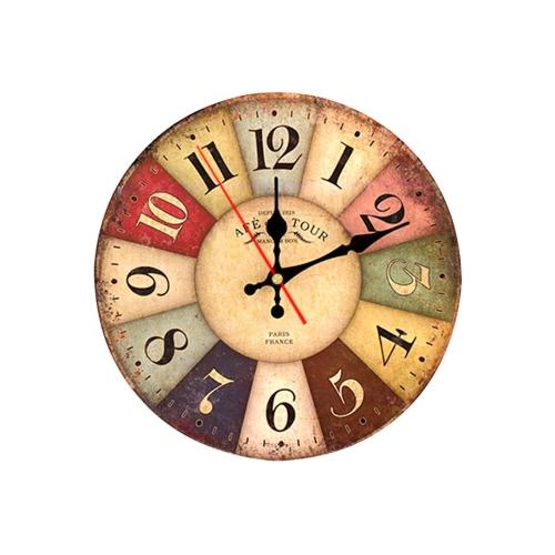 11.8in Diameter Large Vintage Wooden Wall Clock Quartz Movement Decorative Home Living Room Bedroom Decor