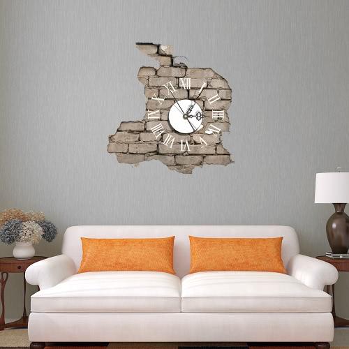 15.4 * 14.9'' DIY Removable 3D Wall Clock Sticker Quartz Movement Decortive Stickers Living Room Bedroom Decal Decor