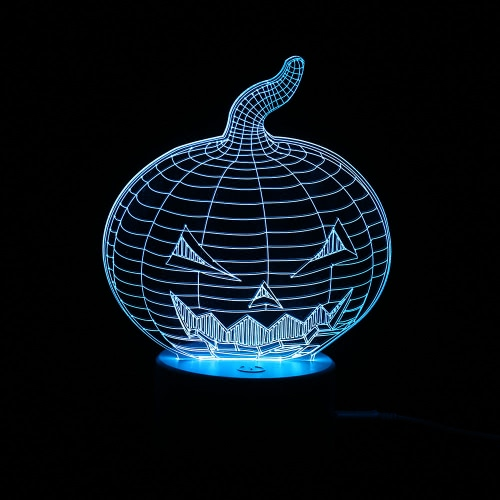 Buy 3D Optical Illusion Colorful LED Table Lamp USB Powered Touch Button Halloween Night Light Home Decoration--Pumpkin