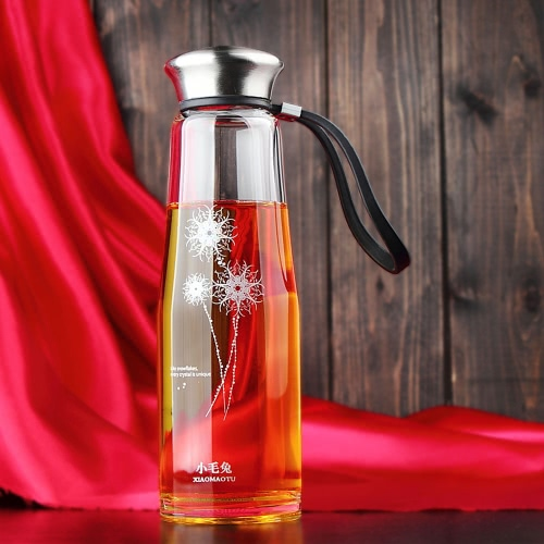 500ml Portable Large Capacity Sport Water Cup Bottle Environmental High Borosilicate Glass Stainless Steel Cover 11281