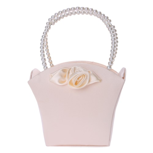 Buy Romantic Wedding Satin Flower Basket Elegant Bead Embedded Handle Small Girl